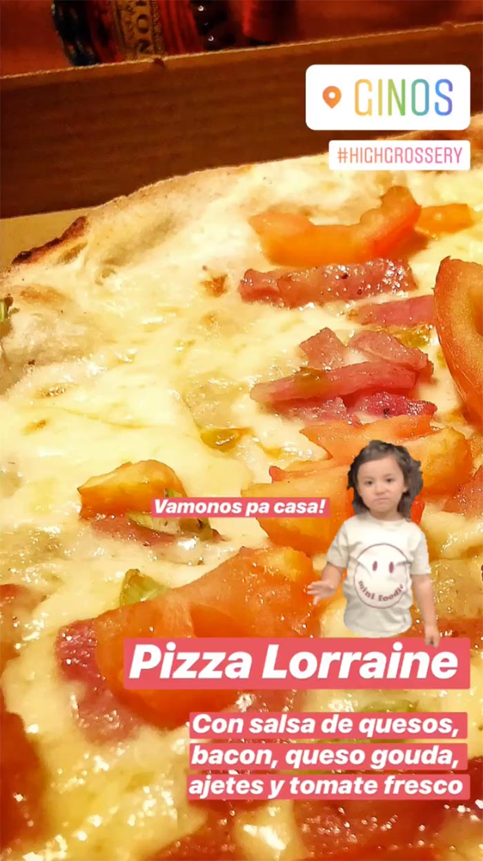 pizza lorraine en ginos take away